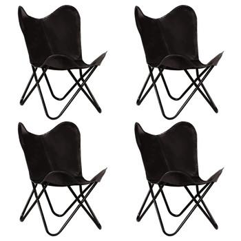 vidaXL Leptir-stolice od prave kože 4 kom crne dječja veličina