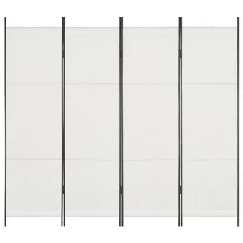 vidaXL Sobna pregrada s 4 panela bijela 200 x 180 cm