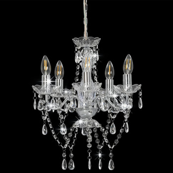 vidaXL Luster s kristalnim perlama srebrni okrugli 5 x E14