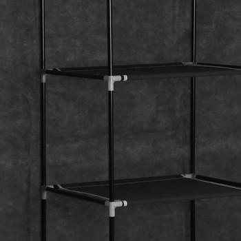 vidaXL Ormar od tkanine s odjeljcima i šipkama crni 150 x 45 x 175 cm