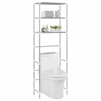 vidaXL Stalak iznad toaletne školjke s 3 police srebrni 53x28x169 cm
