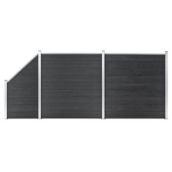 vidaXL Set WPC ograda 2 kvadratne + 1 kosa 446 x 186 cm sivi