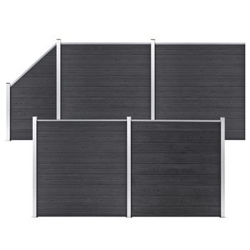 vidaXL Set WPC ograda 4 kvadratne + 1 kosa 792 x 186 cm sivi