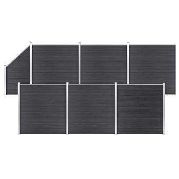 vidaXL Set WPC ograda 6 kvadratnih + 1 kosa 1138 x 186 cm sivi