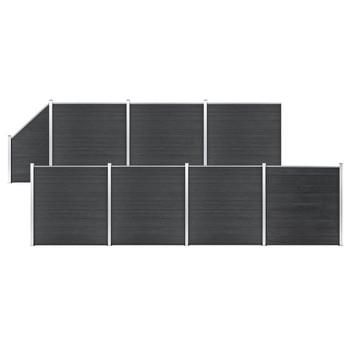 vidaXL Set WPC ograda 7 kvadratnih + 1 kosa 1311 x 186 cm sivi
