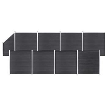 vidaXL Set WPC ograda 8 kvadratnih + 1 kosa 1484 x 186 cm sivi