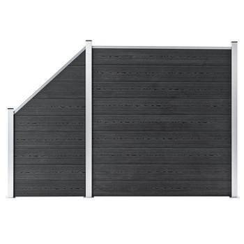 vidaXL Set WPC ograda 1 kvadratna + 1 kosa 273 x 186 cm sivi