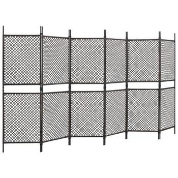 vidaXL Panel za ogradu od poliratana 3,6 x 2 m smeđi