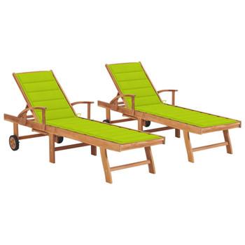 vidaXL Ležaljke za sunčanje s jarko zelenim jastukom 2 kom od tikovine