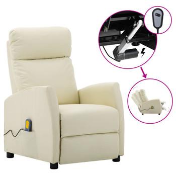 vidaXL Električni masažni naslonjač od umjetne kože krem