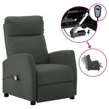vidaXL Električni masažni naslonjač od umjetne kože sivi