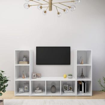 vidaXL TV ormarići 3 kom visoki sjaj bijeli 107x35x37 cm od iverice