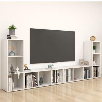 vidaXL TV ormarići 4 kom visoki sjaj bijeli 107x35x37 cm od iverice