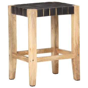 vidaXL Barski stolci 2 kom crna prava koža i drvo manga 46x36x60 cm