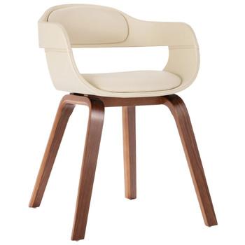 vidaXL Blagovaonska stolica bijela od savijenog drva i umjetne kože