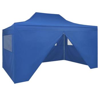 vidaXL Sklopivi Pop-up Šator sa 4 Panela 3x4,5 m Plavi