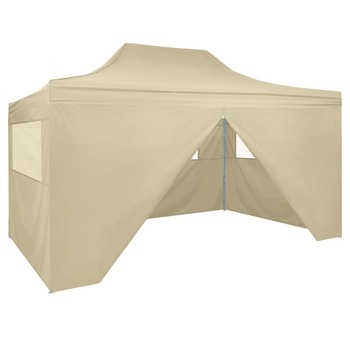 vidaXL Sklopivi Pop-up Šator sa 4 Panela 3x4,5 m Krem Bijeli