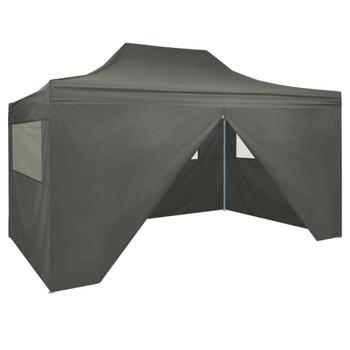 vidaXL Sklopivi šator s 4 bočna zida 3 x 4,5 m antracit