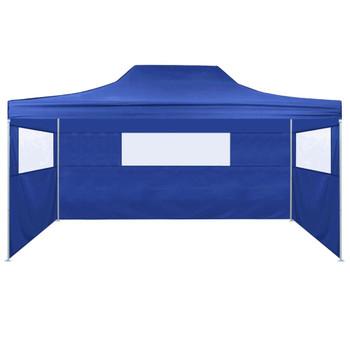 vidaXL Sklopivi Šator s 3 Panela 3x4,5 m Krem Plavi