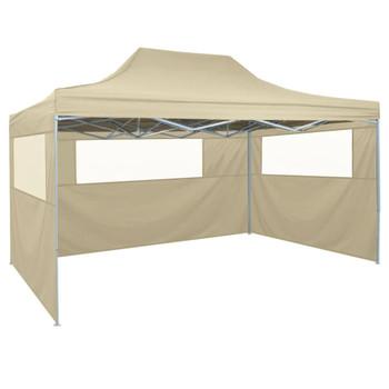 vidaXL Sklopivi Šator s 3 Panela 3x4,5 m Krem Bijeli