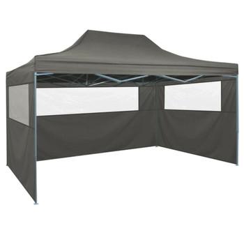 vidaXL Sklopivi šator s 3 zida 3 x 4,5 m antracit
