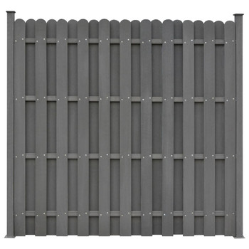 vidaXL Panel za ogradu s 2 stupa WPC 180 x 180 sivi