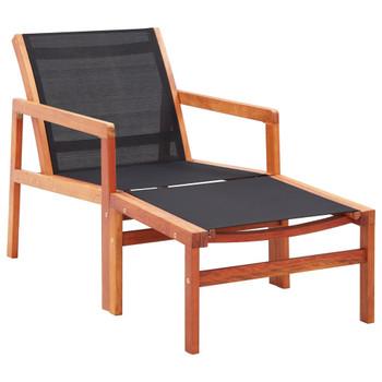 vidaXL Vrtna stolica od masivnog drva eukaliptusa i tekstilena