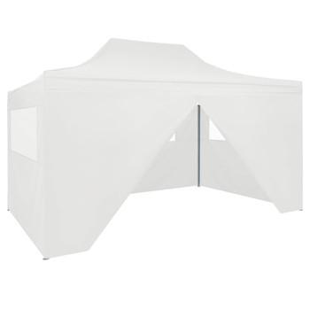 vidaXL Sklopivi šator za zabave s 4 bočna zida 3 x 4,5 m bijeli