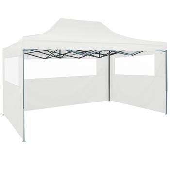 vidaXL Sklopivi šator za zabave s 3 bočna zida 3 x 4,5 m bijeli