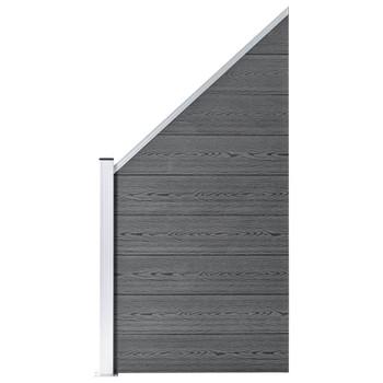 vidaXL Panel za ogradu WPC 95 x (105 - 180) cm sivi