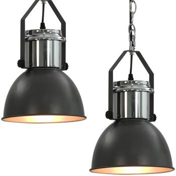 vidaXL Stropna svjetiljka 2 kom siva okrugla E27