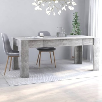 vidaXL Blagovaonski stol siva boja betona 180 x 90 x 76 cm od iverice