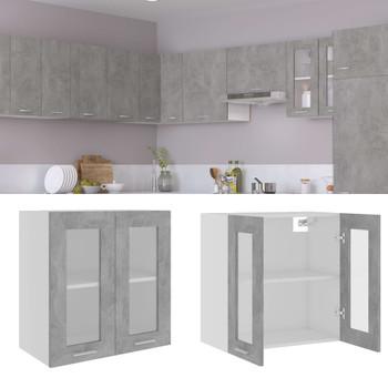 vidaXL Viseći stakleni ormarić siva boja betona 60x31x60 cm od iverice