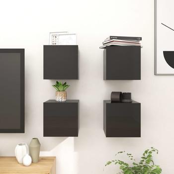 vidaXL Zidni TV ormarići 4 kom visoki sjaj crni 30,5 x 30 x 30 cm