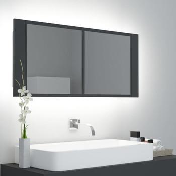 vidaXL LED kupaonski ormarić s ogledalom sivi 100 x 12 x 45 cm