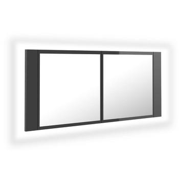 vidaXL LED kupaonski ormarić s ogledalom visoki sjaj sivi 100x12x45 cm