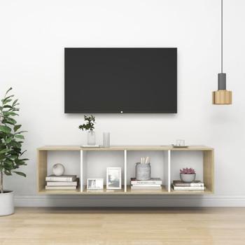 vidaXL Zidni TV ormarić boja hrasta i bijela 37x37x142,5 cm od iverice