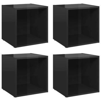 vidaXL TV ormarići 4 kom visoki sjaj crni 37 x 35 x 37 cm od iverice