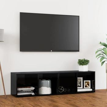 vidaXL TV ormarić visoki sjaj crni 142,5 x 35 x 36,5 cm od iverice