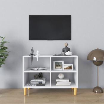 vidaXL TV ormarić s nogama od masivnog drva bijeli 69,5 x 30 x 50 cm