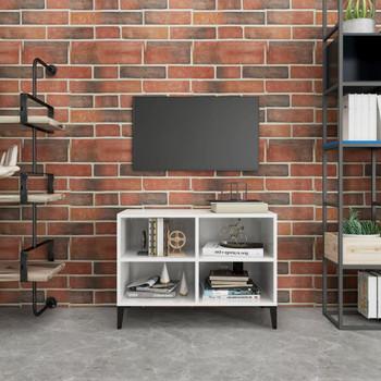 vidaXL TV ormarić s metalnim nogama visoki sjaj bijeli 69,5x30x50 cm