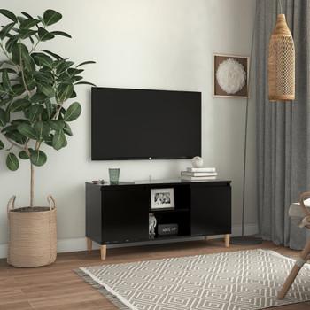 vidaXL TV ormarić s nogama od masivnog drva crni 103,5 x 35 x 50 cm