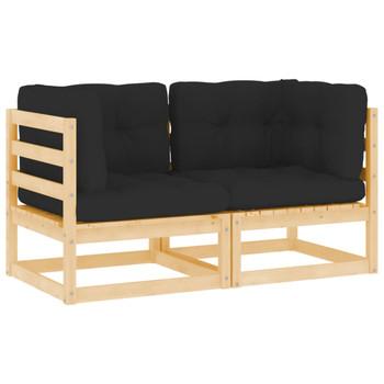 vidaXL Kutne vrtne sofe s jastucima 2 kom od masivne borovine