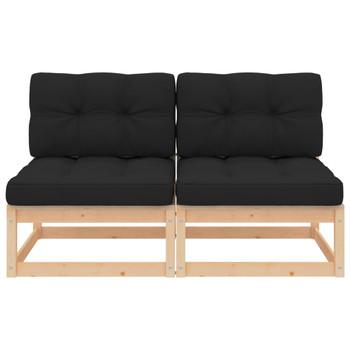 vidaXL Srednje vrtne sofe s jastucima 2 kom od masivne borovine