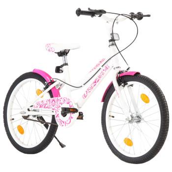 vidaXL Dječji bicikl 20 inča ružičasto-bijeli