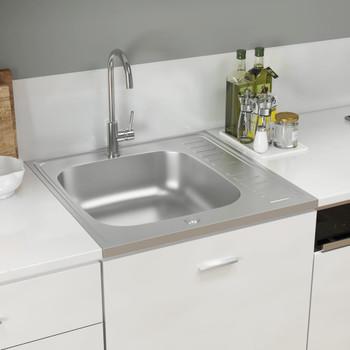 vidaXL Kuhinjski sudoper srebrni 600x600x155 mm od nehrđajućeg čelika
