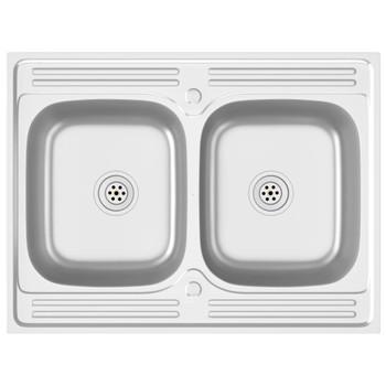 vidaXL Kuhinjski sudoper s dvije kadice srebrni 800x600x155 mm čelik