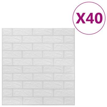 vidaXL 3D zidne tapete s uzorkom cigli samoljepljive 40 kom bijele