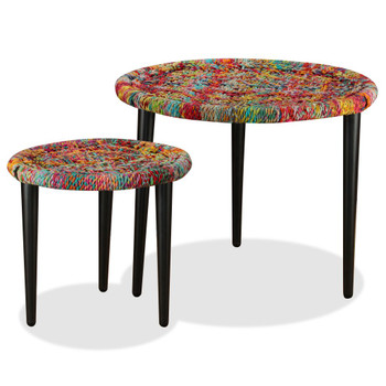 vidaXL 2-dijelni set stolića za kavu s tkanim detaljima chindi šareni