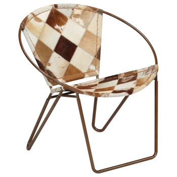 vidaXL Stolica s uzorkom dijamanata od prave kože smeđa